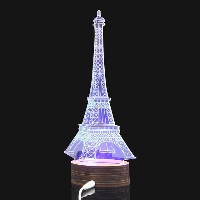 Eiffel Tower 3D Illusion LED Table Desk Light Blue Lighting USB Bedside  Bedroom Night Lamp Decor