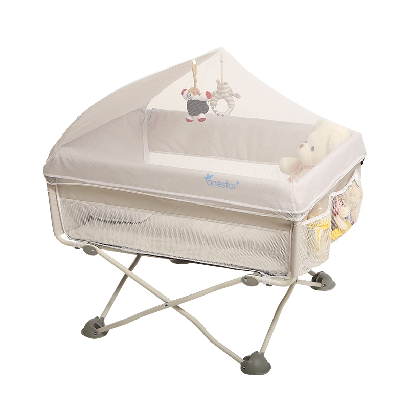 Portable Newborn Baby Bed Multifunctional Folding Travel Small Bb With Mosquito Net Splicing Bedside