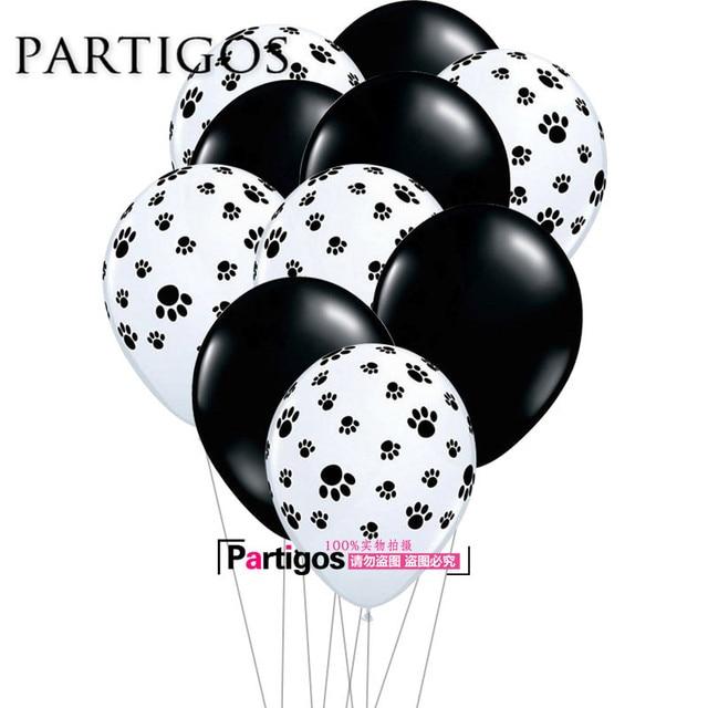 10pcs 32g 12inch black white dog paw print latex balloons animal birthday theme party decor