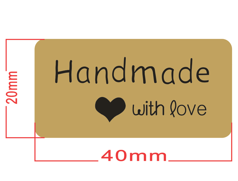 Купить с кэшбэком Hand made With LOVE Scrapbooking Kraft Paper Labels Envelopes Stickers and Gift Packaging Seal Seals Sticker 1 Lot =100 Pcs