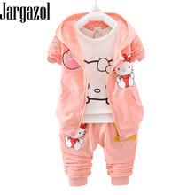 c9707261f Girls Fall Outfits Cartoon Hello Kitty Flower Printed Hooded Coat&long  Sleeve Shirt&pants Toddler Girl Clothes Kids Clothign Set