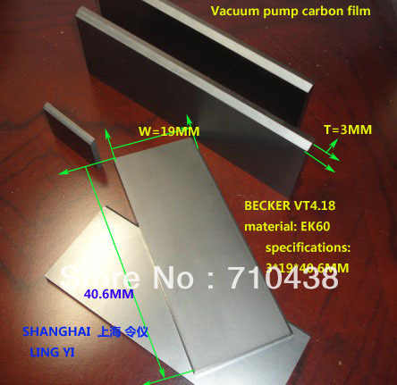 Graphite vane, carbon plaat BECKER VT4.18 materiaal: EK60 3*19*40.6 M, carbon vaan, vacuümpomp carbon schoepen