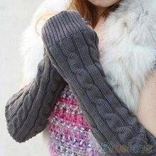 Hot Women's Men's Long Knitted Crochet Fingerless Braided Arm Warmer Gloves 229R