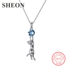 SHEON 100% 925 Sterling Silver Blue Crystal Ball And Cute Cat Animal Pendant Necklaces for Women Jewelry Gift