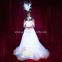 LED Robe De Mariage Lumineux Costumes Lumière Vêtements Jupe Pour Femmes Salle De Bal De Danse De Mariage Éclatante Robe Chine Dames Accessoires