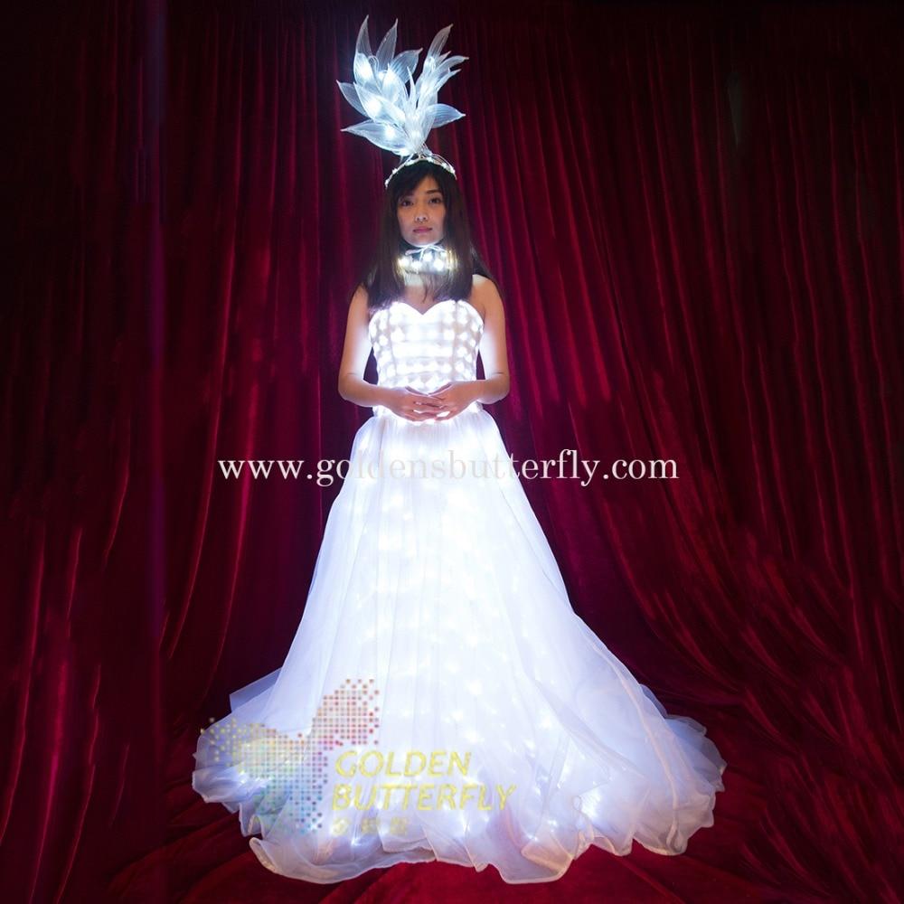 الصمام فستان الزفاف الدعاوى مضيئة ضوء الملابس متوهجة تنورة الزفاف للنساء قاعة الرقص اللباس الصين السيدات الملحقات