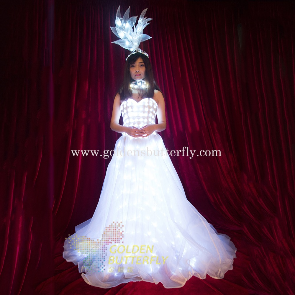 LED Wedding Dress Luminous font b Suits b font Light Clothing Glowing Wedding Skirt For font