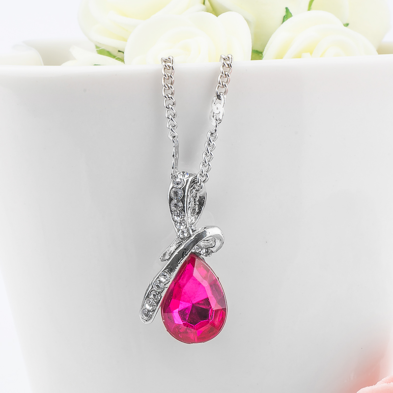 MISANANRYNE Fashion 10 Colors Austrian Crystal Water Drop Pendants&Necklaces Chain Necklace Fashion Jewelry For Women 16