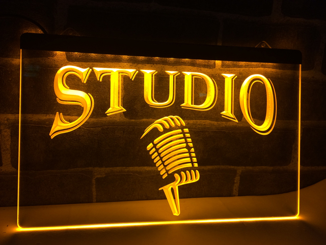 LB587 Studio On The Air Microphone Bar LED Neon Light Sign Home Decor Crafts