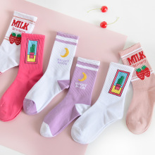 Jeseca женские розовые носки женские Harajuku винтажные Короткие хлопковые носки для девочек уличная одежда с клубничным принтом милые носки для рождественских подарков