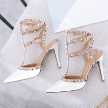 Summer fashion womens sandals real leather fabric comfortable lining rivet decoration T-strap with thin high heel sexy