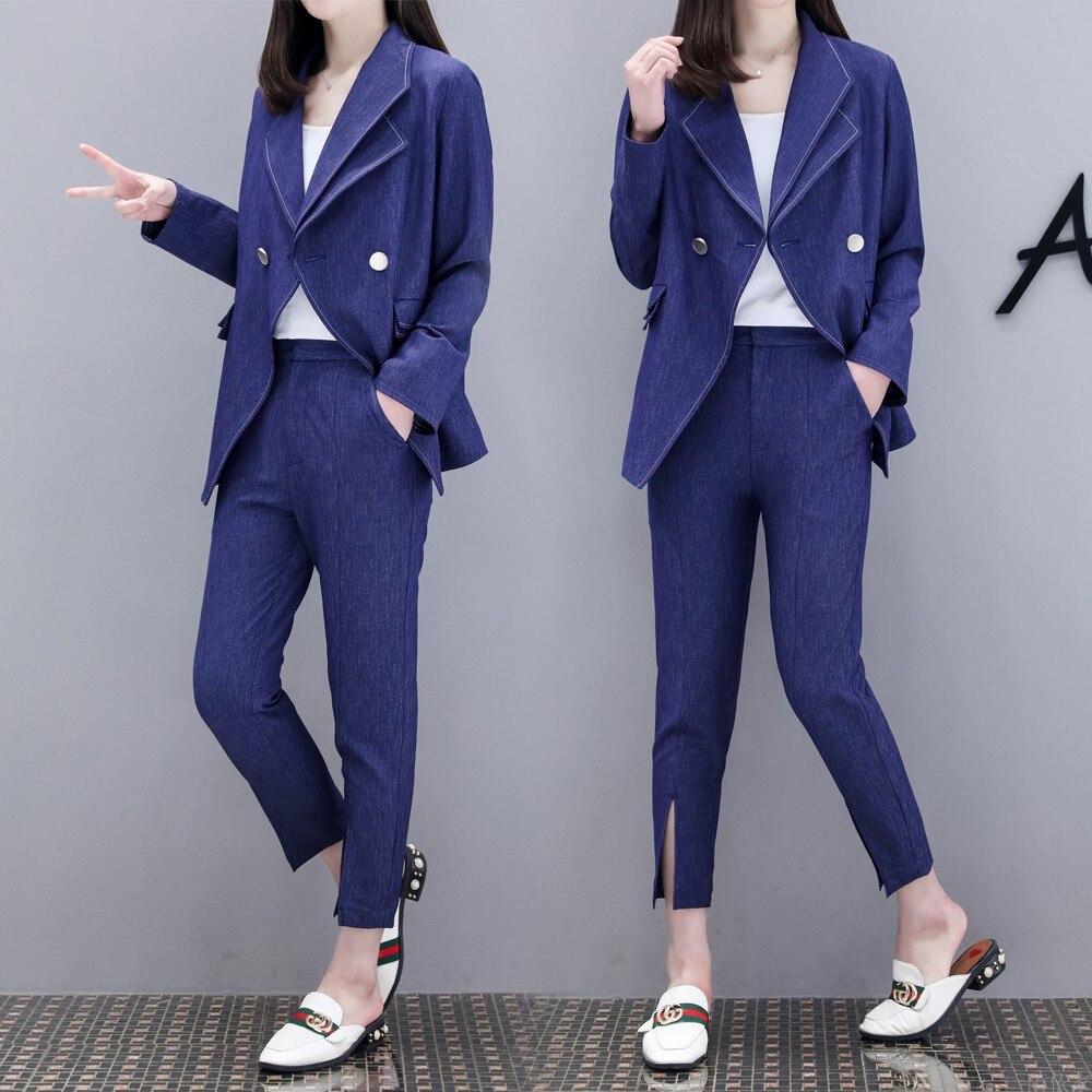 Nouvelles Spring Etats Tempérament Europe Neuf Dd11 Veste Mode Pantalon De Bleu unis Marée Les Femmes Costume Et Marine zYBFrwYHq