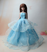 Sky Blue Lace Dress , Princess Party Wedding Gown Skirt Clothes For Baby Toy Barbie Xinyi Doll Toys for Children(China)