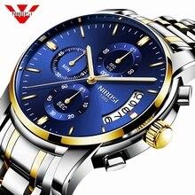 NIBOSI שעון גברים למעלה מותג יוקרה כחול זכר אוטומטי תאריך קוורץ Mens שעונים עמיד למים ספורט שעון שעון Relogio Masculino