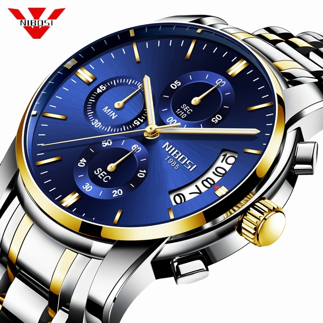 NIBOSI montre de Sport pour hommes, de marque de luxe, à Quartz, à Date automatique, étanche, bleu