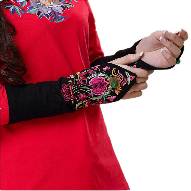 2017 Vintage Women Gloves Eldiven Fingerless Brand Guantes Mujer Embroidery Gants Femme Heated Harajuku Ladies Tactical Clothing