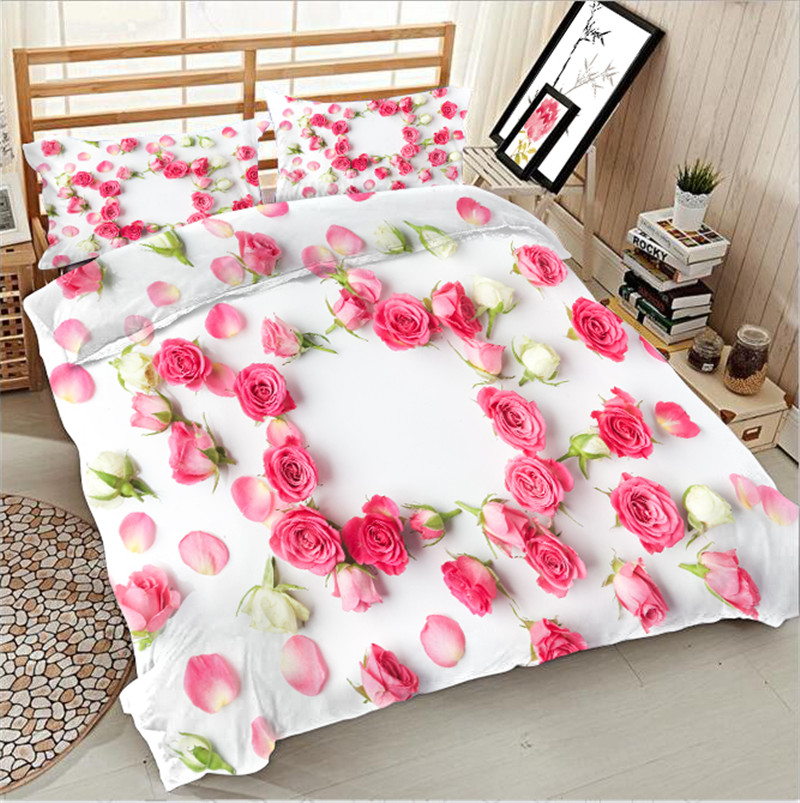 Morden 3D Bedding Set pink rose Quilt Cover Set King Queen Twin Size Home Textiles Drop Ship