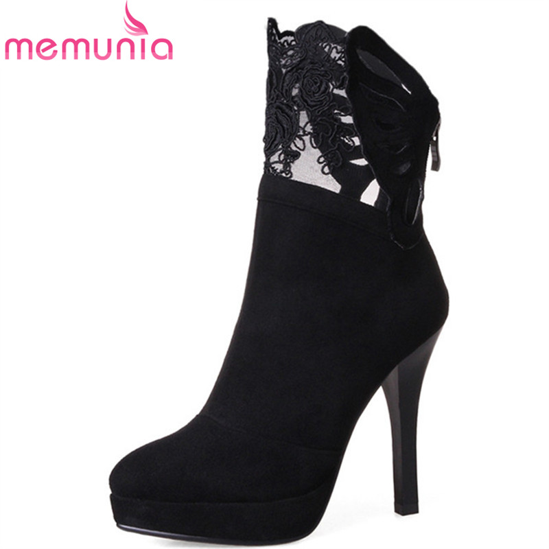 MEMUNIA 2017 Sexy lady ankle boots for women thin heels shoes fashion boots flock zip platform party boots big size 34-43 new fashion round toe thin heels ankle boots for women wedding shoes platform pumps boots big size 34 43