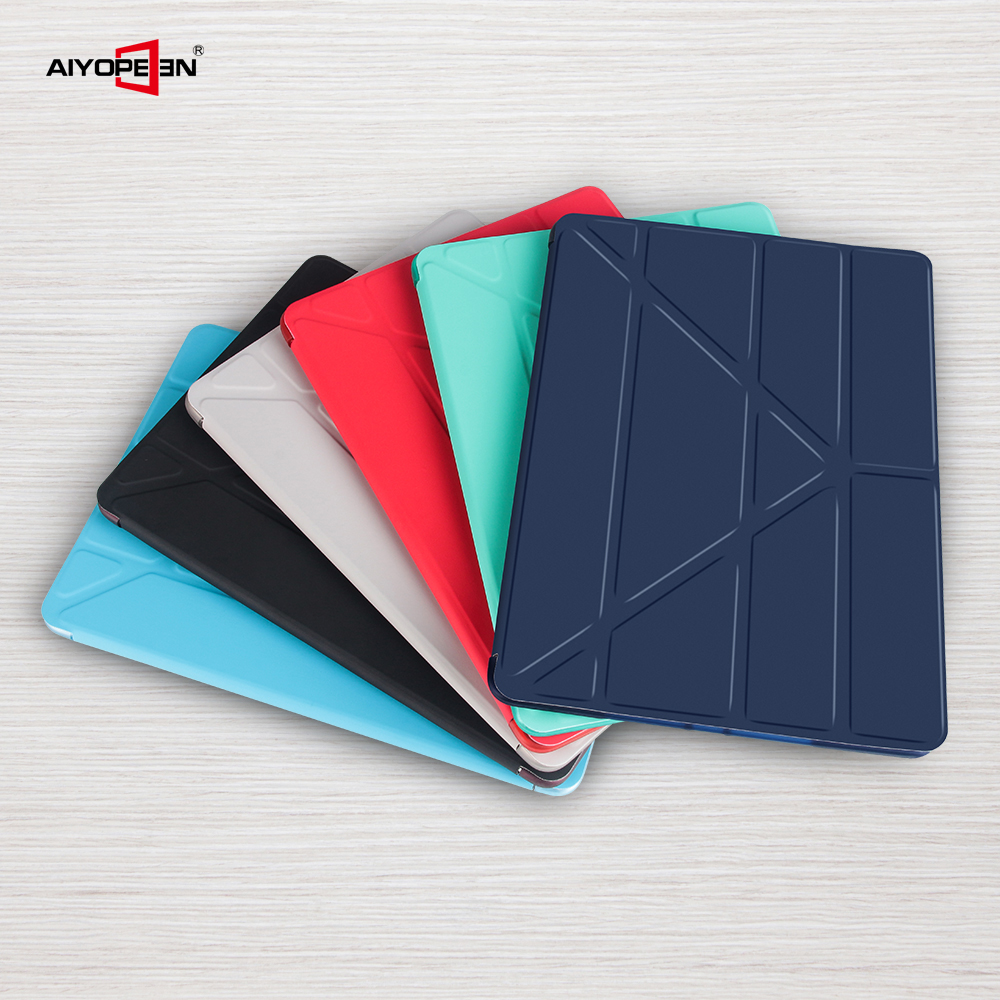 Case For iPad air 2 Aiyopeen PU Leather Ultra Slim soft back protect Smart fold flip stand Cover Shockproof case For iPad air 2 in Tablets e Books Case from Computer Office