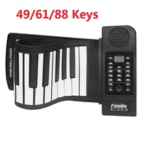 Portable 49/61/88 Keys Roll Up Piano Flexible Silicone Roll Up Piano Folding Keyboard for Child Student Musical Instruments