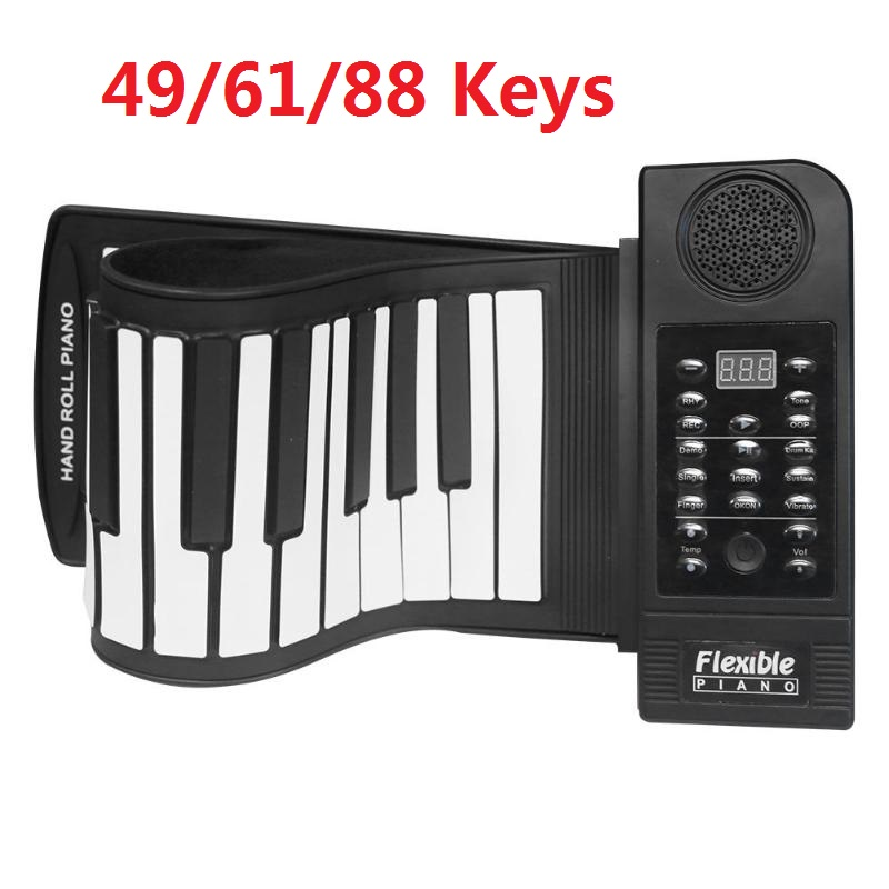 Portable 49/61/88 touches retrousser Piano Flexible Silicone retrousser Piano clavier pliant pour enfant étudiant Instruments de musique