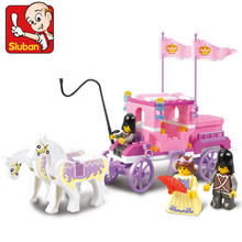 Sluban 137Pcs Building Blocks Girl Dream Princess Royal Carriage Wagon Action Figure Playmobil Educational Toys For Children(China)