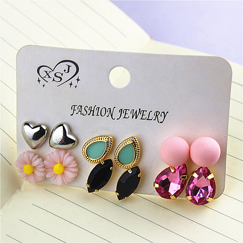 Hot new style women jewelry wholesale girls birthday party heart shaped ear nail black pink suit ear ring free shipping