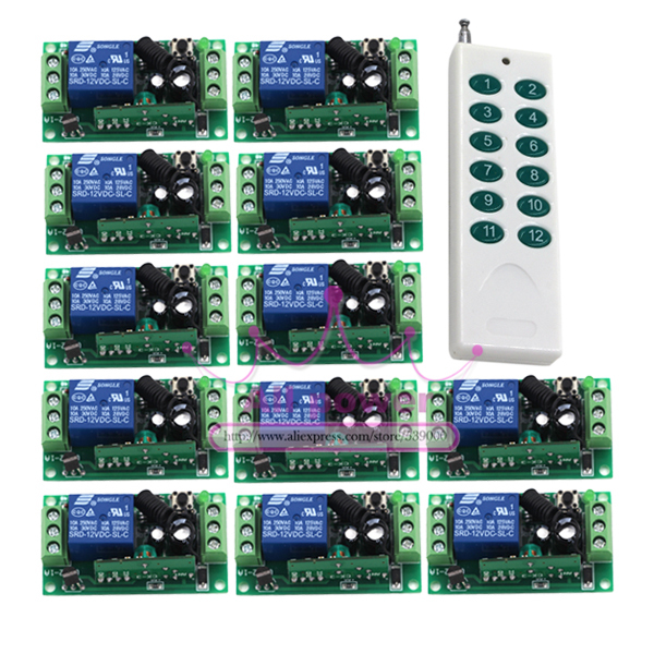 Hot Sale Wireless RF Remote Control Switches 1pcs 12CH Remote Controller with 1CH 12pcs Receivers 315Mhz/433Mhz binge elec 16 buttons remote controller 433 92mhz only work as binge elec remote touch switch hot sale
