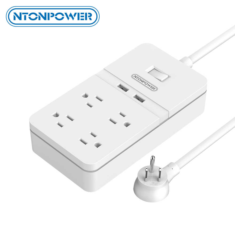 NTONPOWER 4-Outlet Smart Power Strip met 2 usb-poorten Overbelasting Schakelaar Surge Protector met 1.5 m portable Extension koord voor Thuis
