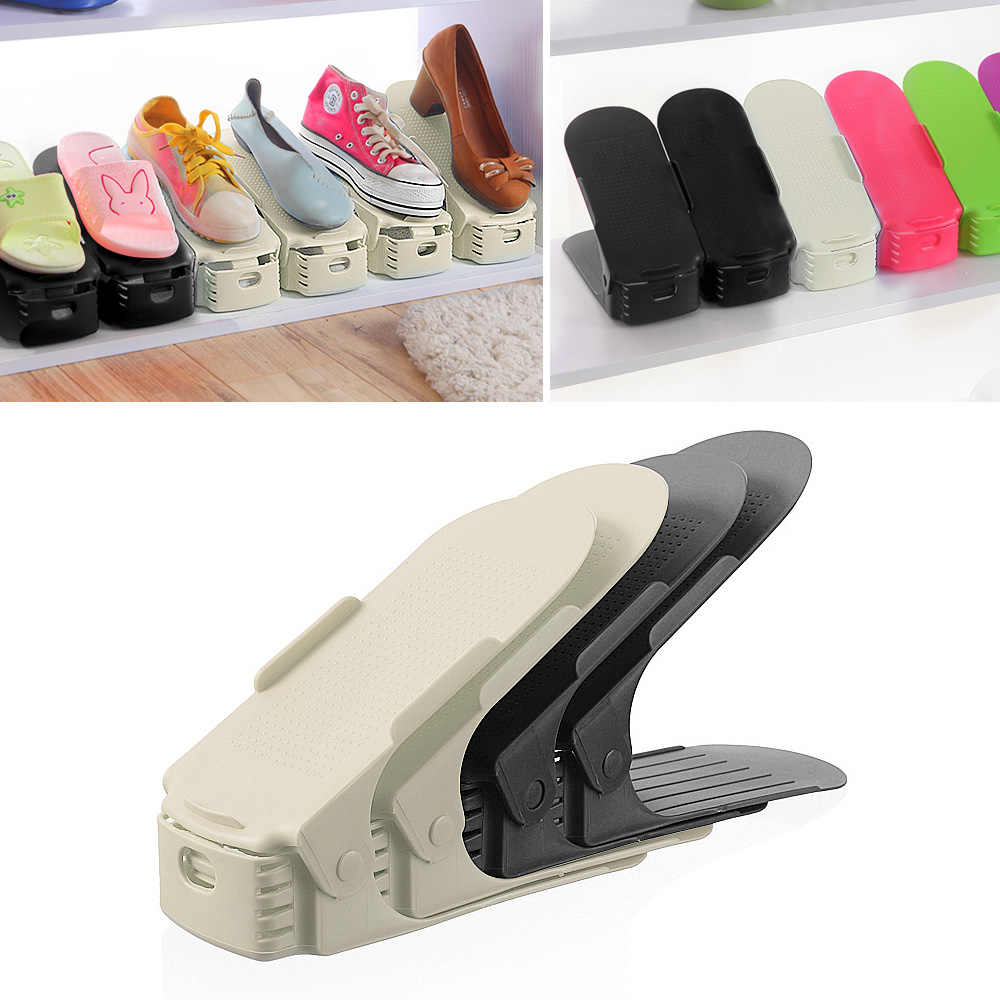 8 6 pcs Shoe Organizer Double Shoebox Rack Adjustable Space Saving Range Shoe Storage Shelf Slot Save Space Closet Range Shoes