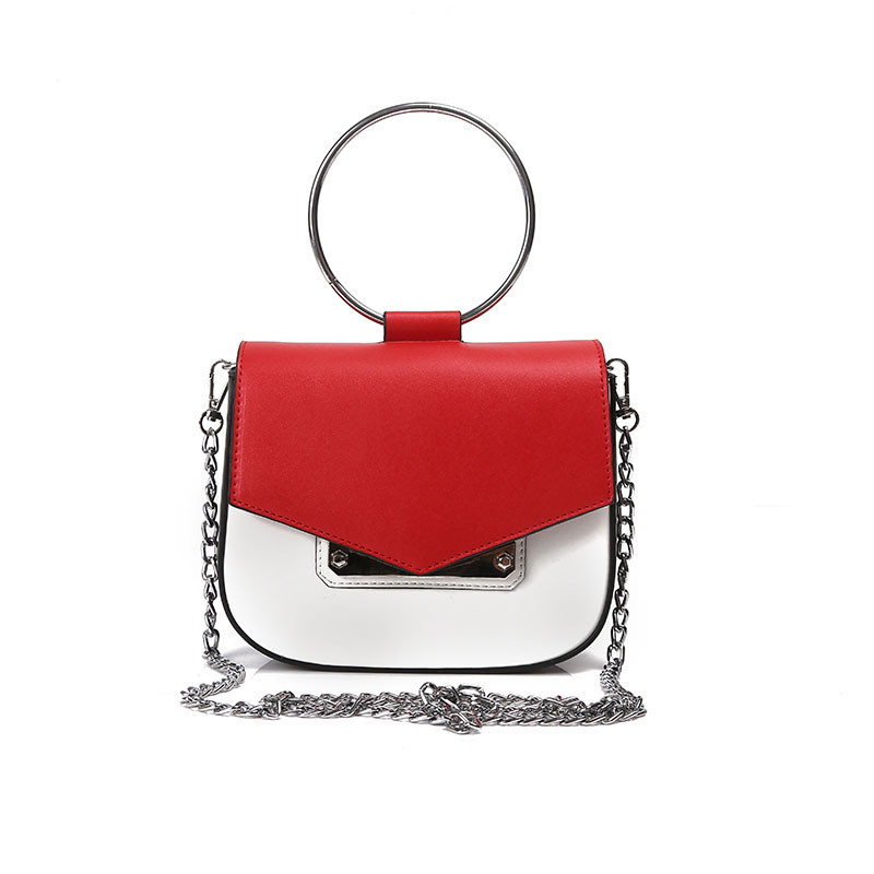 Small Woman Handbag With Ring Handle Metal Clutch Chain Casual Tote Crossbody PU Leather Girl Shoulder Saddle Bag Bolsos Mujer pu leather stitching metal ring crossbody bag