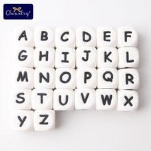 100pcs 영어 알파벳 실리콘 편지 구슬 음식 학년 실리콘 구슬 씹는 젖꼭지 체인 이름 아이 제품 12mm
