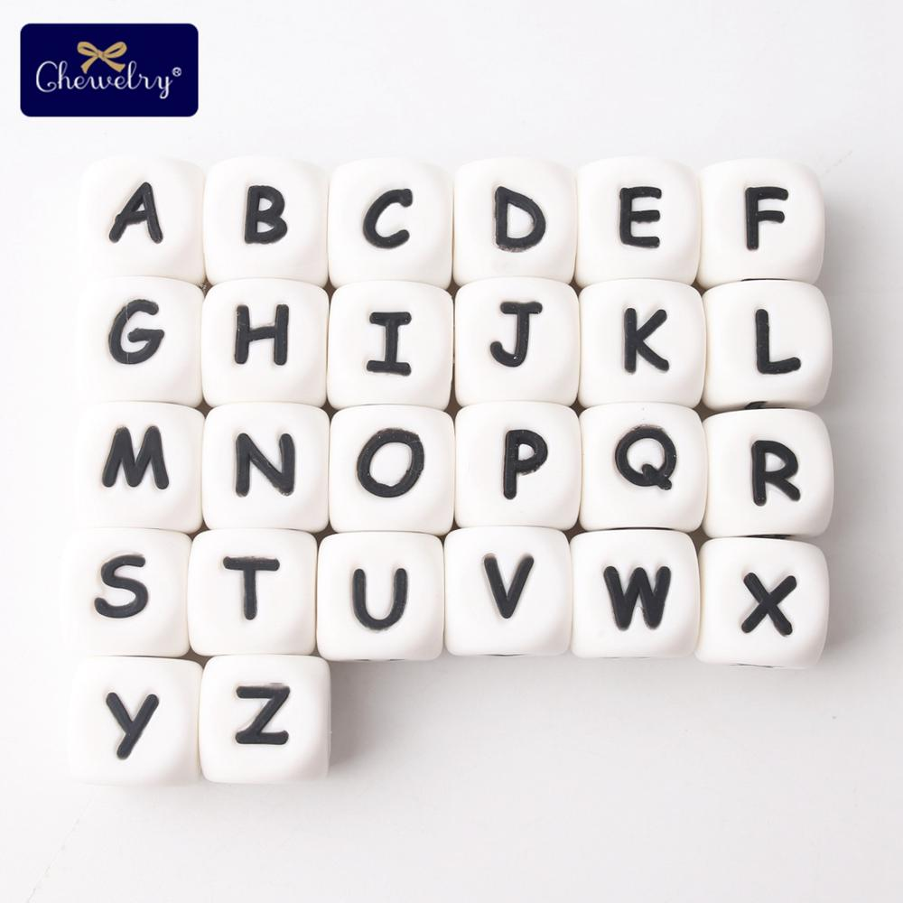 100pcs English Alphabet Silicone Letters Beads Food Grade Silicone Beads Chewing Pacifier Chain Name For Kid Products 12mm