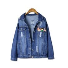 Holes Denim Jacket Female 2017 Autumn New Women Coats Trend Patch Chaquetas Mujer Loose Dames Jassen Casacos All-Match Abrigos