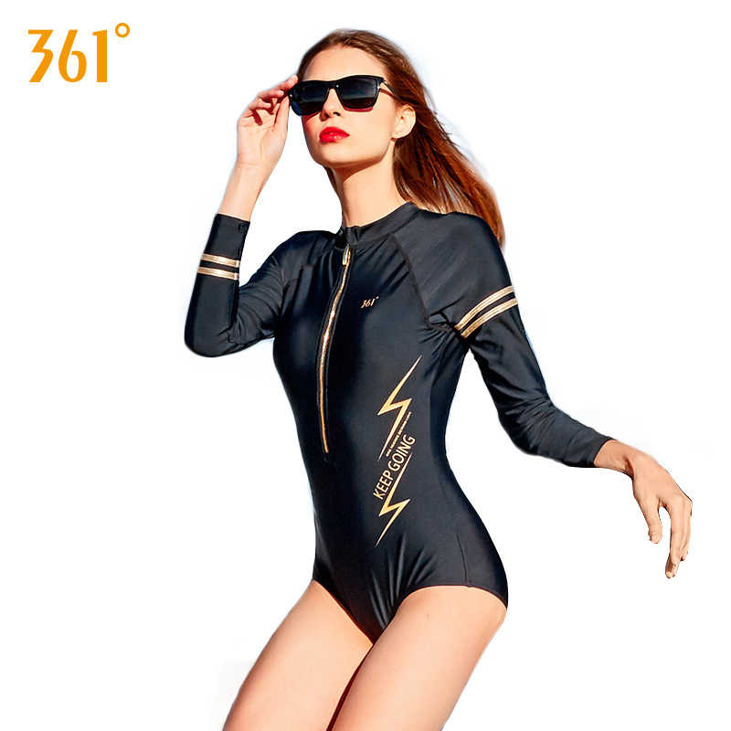 cc95d672bb232 361 Women Sexy Long Sleeve Swimsuit Zipper Black Active Swim Suit Bathing  Suit Women One Piece