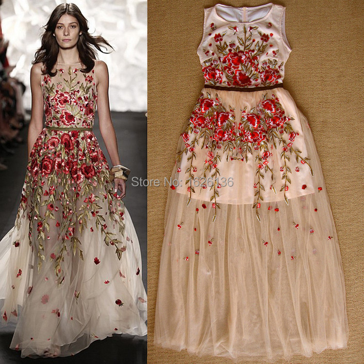 Women S Dress Luxury Beautiful Spring And Summer 2017 Fashion Catwalk Models Delicate Flower Embroidery Slim Dess In Dresses From