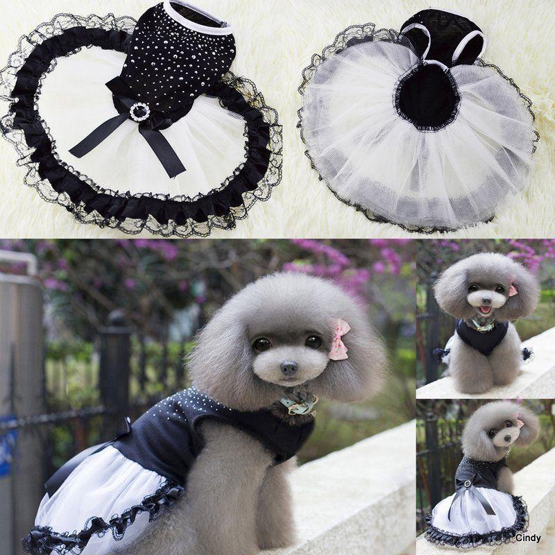 Small Pet Puppy Dog Cat Bling Rhinestone Bow Tutu Dress Lace Skirt Clothes Princess Dress Apparel Costume XS-2XL Black