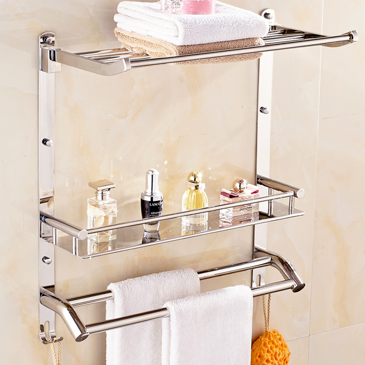 304 stainless steel towel rack chrome silver bathroom - Bathroom shelves stainless steel ...