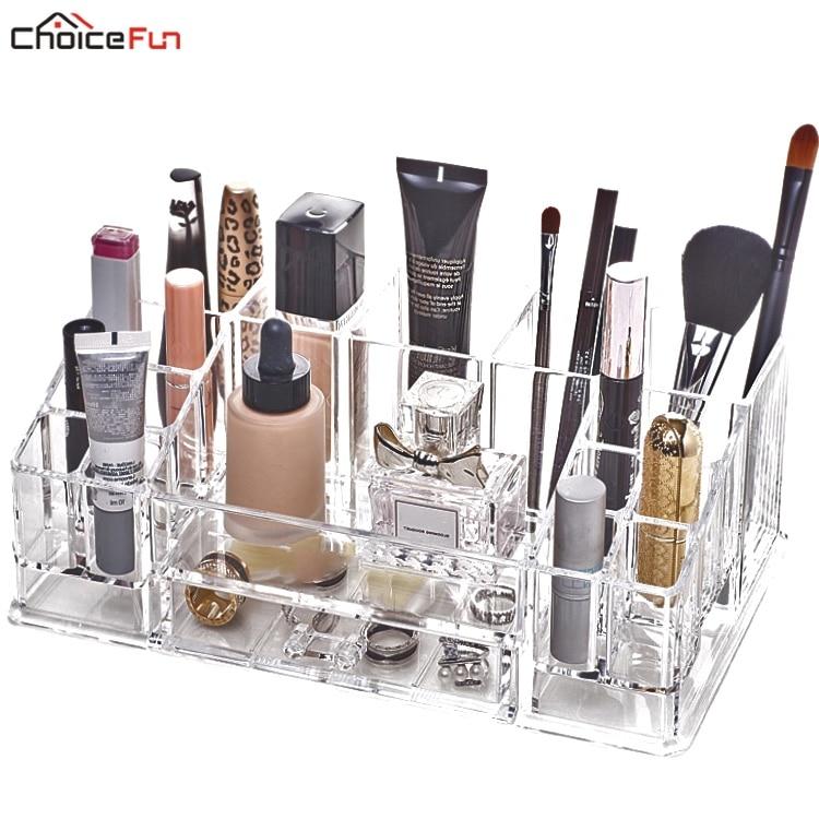 CHOICEFUN Clear Acryl DIY Desktop Plastic Acrylic Skin Care Perfume Lipstick Nail Makeup Brush Cosmetic Organizer For Brushes