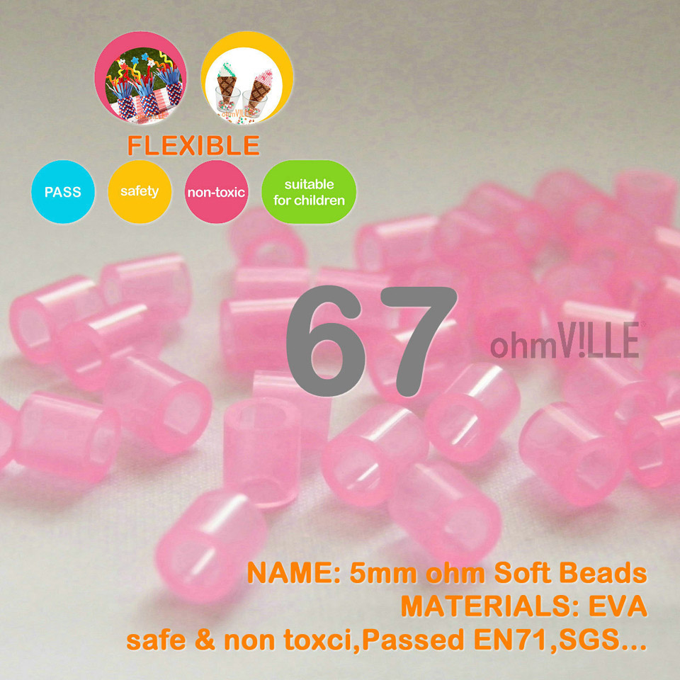 Hot Sale!!! 5mm Soft Flexible Ohm Beads ( Transparent Red Id:67) 90 Colors For Choose Hama Beads Activity + Free Shipping