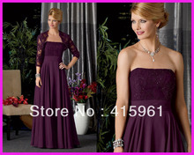 2013 Elegant Straight Neck Purple Mother of the Bride Dresses With Lace Jacket M1124