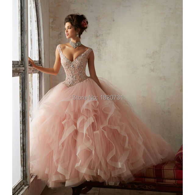 Beautiful Rose Red Lace Up Back Quinceanera Dress 2019 Beading Sequin Cap Sleeves Girls Debutante Dress Vestido de 15 nos