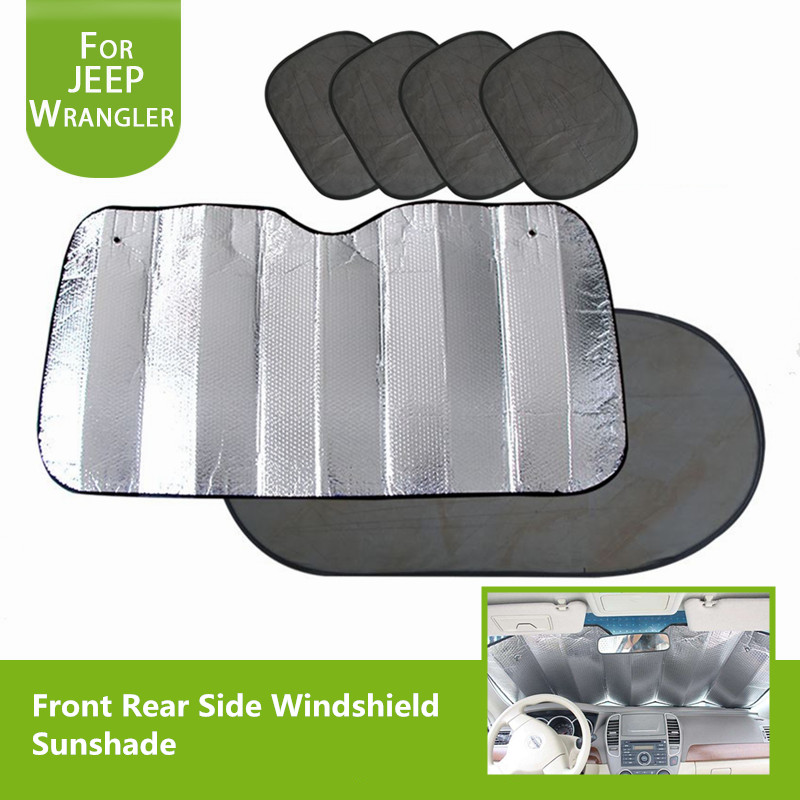 Extra Large Front Aluminium Foil Windshield Sunshade Rear Side Grenadine Sun Visor Shading Mat for Jeep Wrangler JK 2007-2017