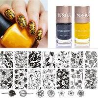 Tulip Pattern Nail Stamp Template Stamping Polish Set Rose Image Plate Yellow Black Nail Art Vanish