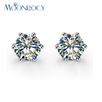 MOONROCY Drop Shipping Fashion Jewelry Wholesale Cubic Zirconia Rose gold Color Silver Crystal Earrings for women Gift - discount item  20% OFF Fashion Jewelry