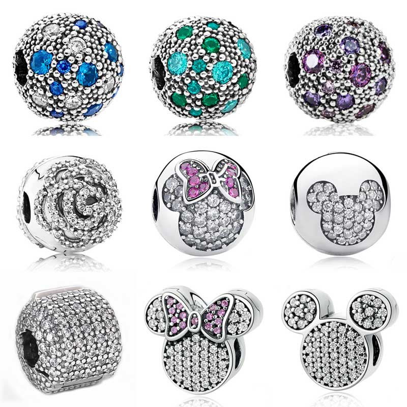 Pave Barrel Cartoon Mouse Multicolor Cosmic Stars Fixed Clip Stopper Bead Fit Pandora Bracelet 925 Sterling Silver Charm Jewelry