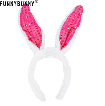 FUNNYBUNNY  Glowing Sequin Rabbit Ears Hair Hoop Cute Bunny Ears Sequins Headband Hair Hoop Party Costume Hairdress недорого