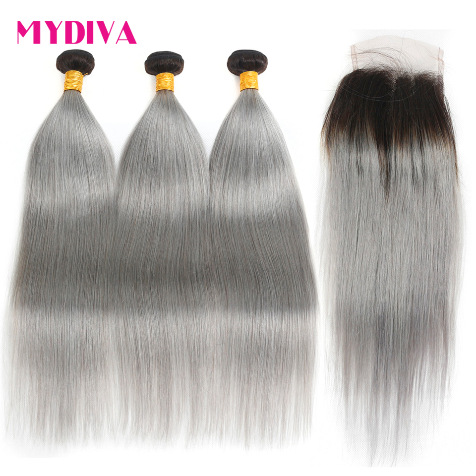Pre Colored TB/Grey Hair Bundles With Closure Straight Grey Ombre Hair Bundles With Closure Non Remy Brazilian Hair Weave Mydiva