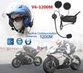 2 unids V6 1200 M Casco de La Motocicleta Auriculares Bluetooth V3.0 6 Riders Interphone del Intercomunicador Multi Kits de Motor Esquiadores de LA UE/EE. UU. Plug
