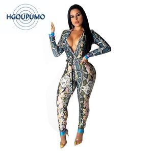 Snake Skin Print Sexy Bodycon Bodysuit Deep V Neck Long Sleeve Rompers Womens Jumpsuit Casual Sash One Piece Club Party Overall